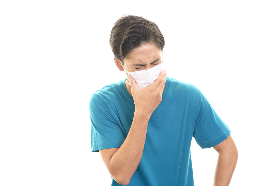 風邪で苦しむ男性