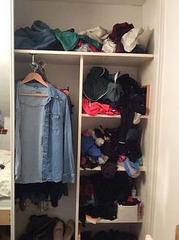 Disorganised and messy wardrobe