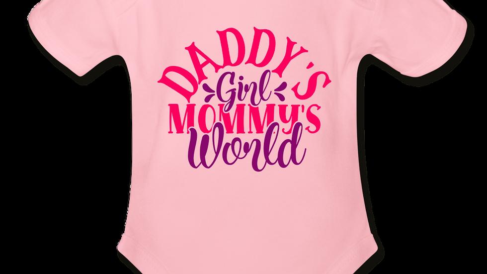 Daddys Girl Mommys World Short Sleeve Baby Bodysuit