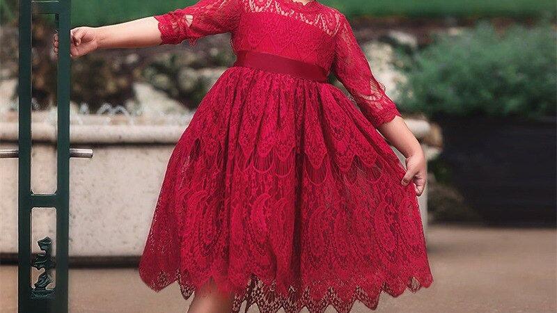 Christmas 3-8Yrs Kids Dresses for Girls Lace  Wedding Dress