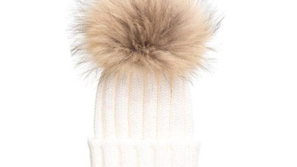 Ivory Pom Pom Hat