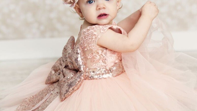 Baby Girl Dress Sequins Bow Christmas 1st Birthday Wedding Christening Dress