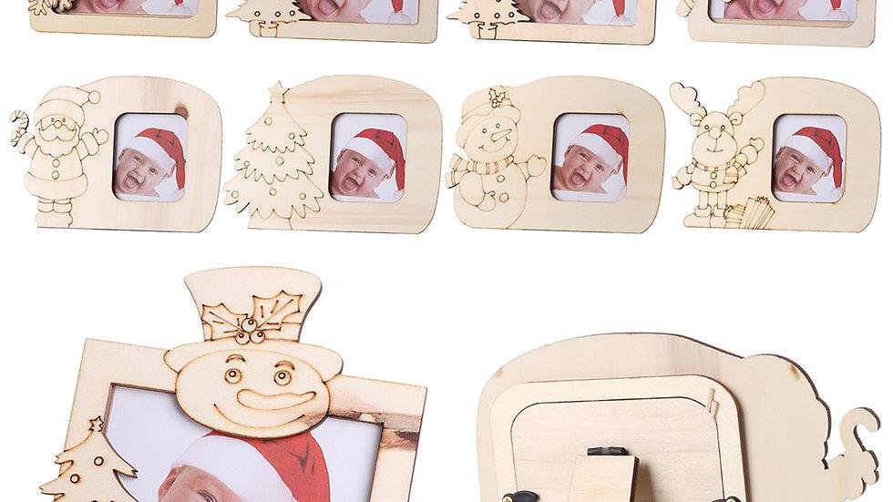 Mini Wooden Picture Holder Snowman Santa Elk Photo FrameChristmas Table Decor