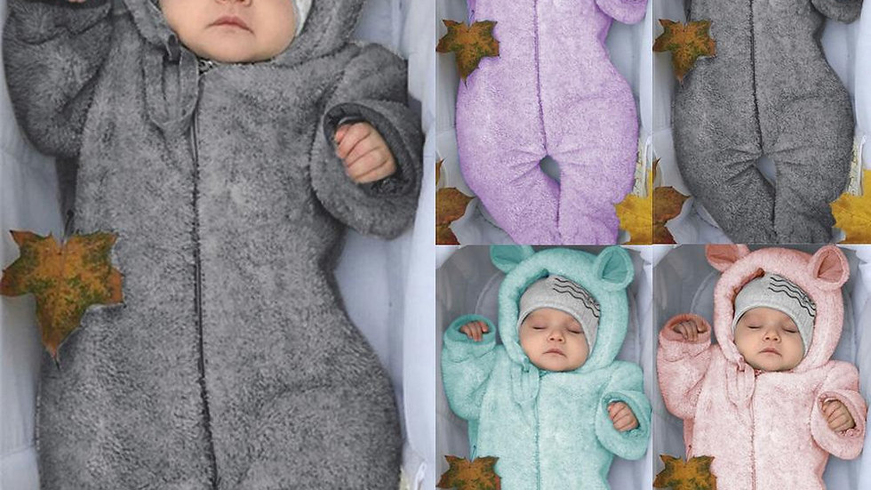Newborn Baby Boy Winter Fleece Jumpsuit Infant Solid HoodedClothes