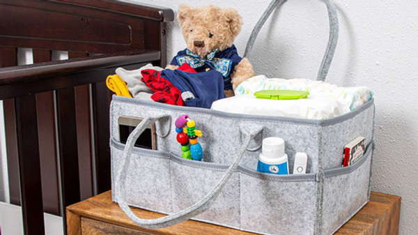 Description -CONVENIENT LARGE SIZE: Diaper Caddy 15x9x7'' (Larger than most