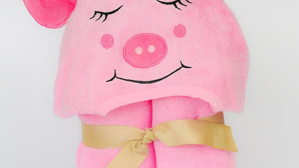 Bamboo Rayon Piggy Hooded Turkish Towel: Baby