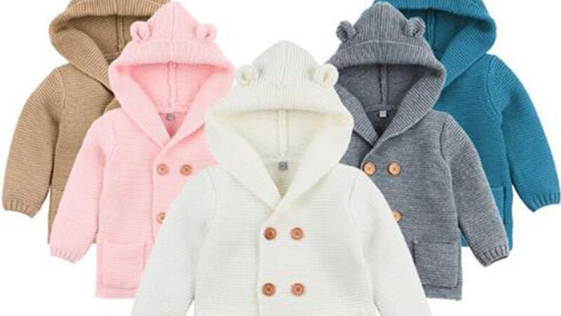 Knitting Cardigan Toddler Baby Solid Color Ears Hooded
