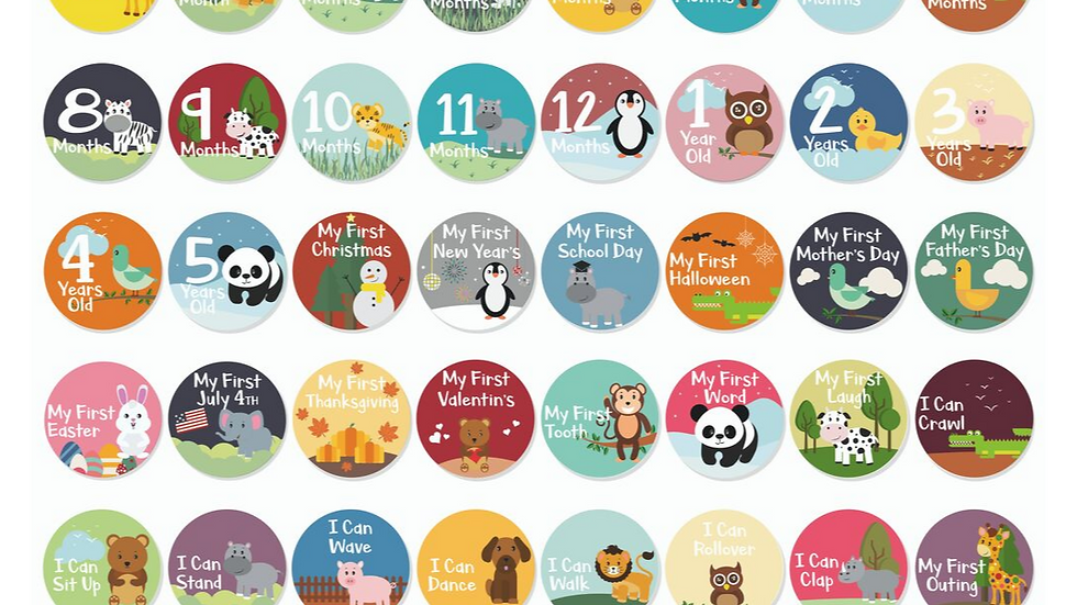 Pack of 48 Baby Stickers, Popular Milestones , Record Your Baby's Growth, Ho