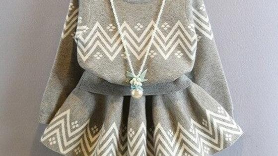 Winter Baby Girls Clothing Set Turn Down Collar Knitting