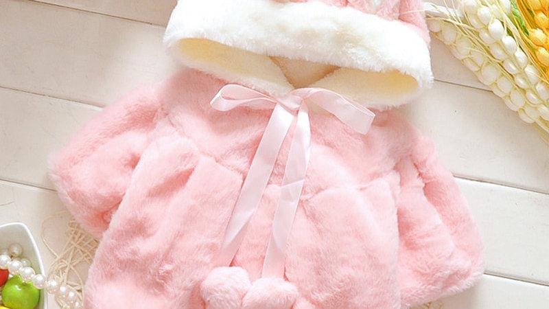 Baby Girls Snow Wear  New Winter Rabbit Ear Hooded Parkas