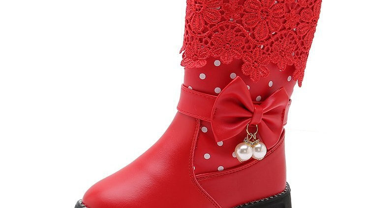 Shorha Children's Boots Autumn and Winter New Leather Boots Girls  Baby Boots