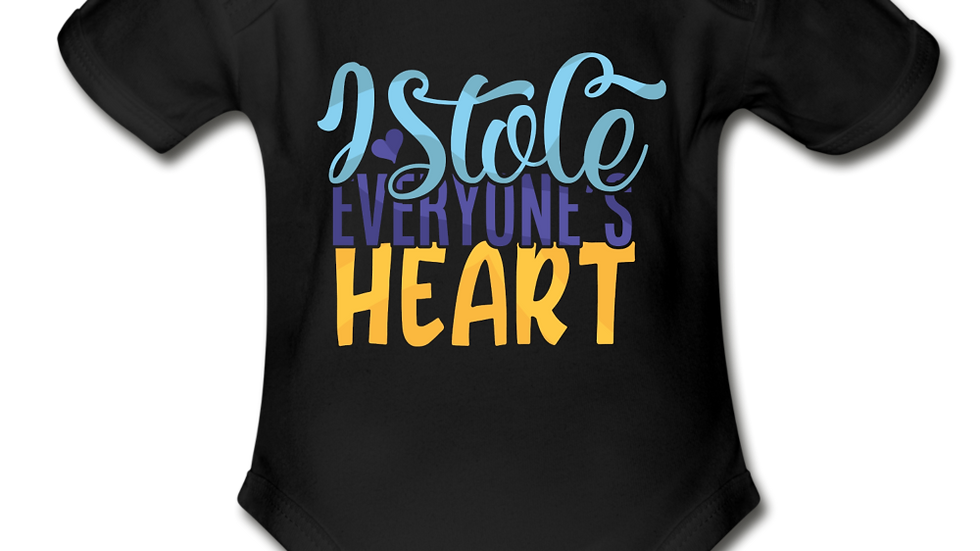 I Stole Everyone's Heart Short Sleeve Baby Bodysuit
