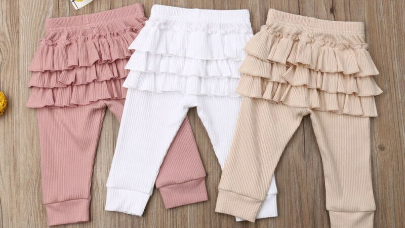 Baby Long Pants Newborn Kids  Solid Ruffle Leggings