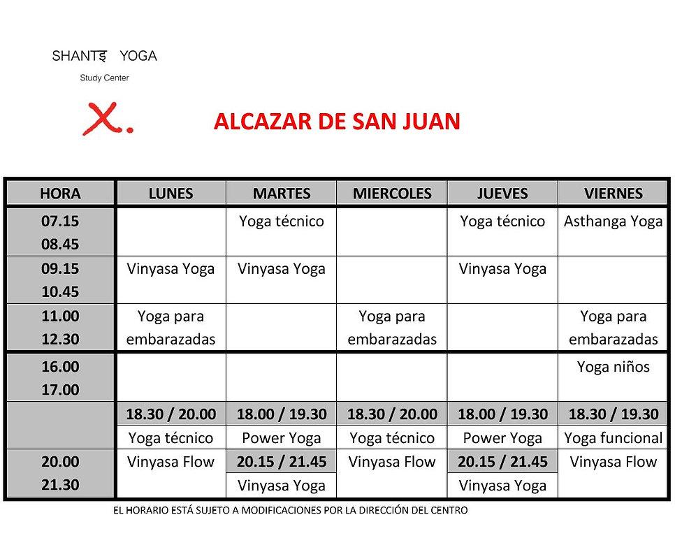 Horario Clases de Yoga Shanti Study Cener Alcazar de San Juan