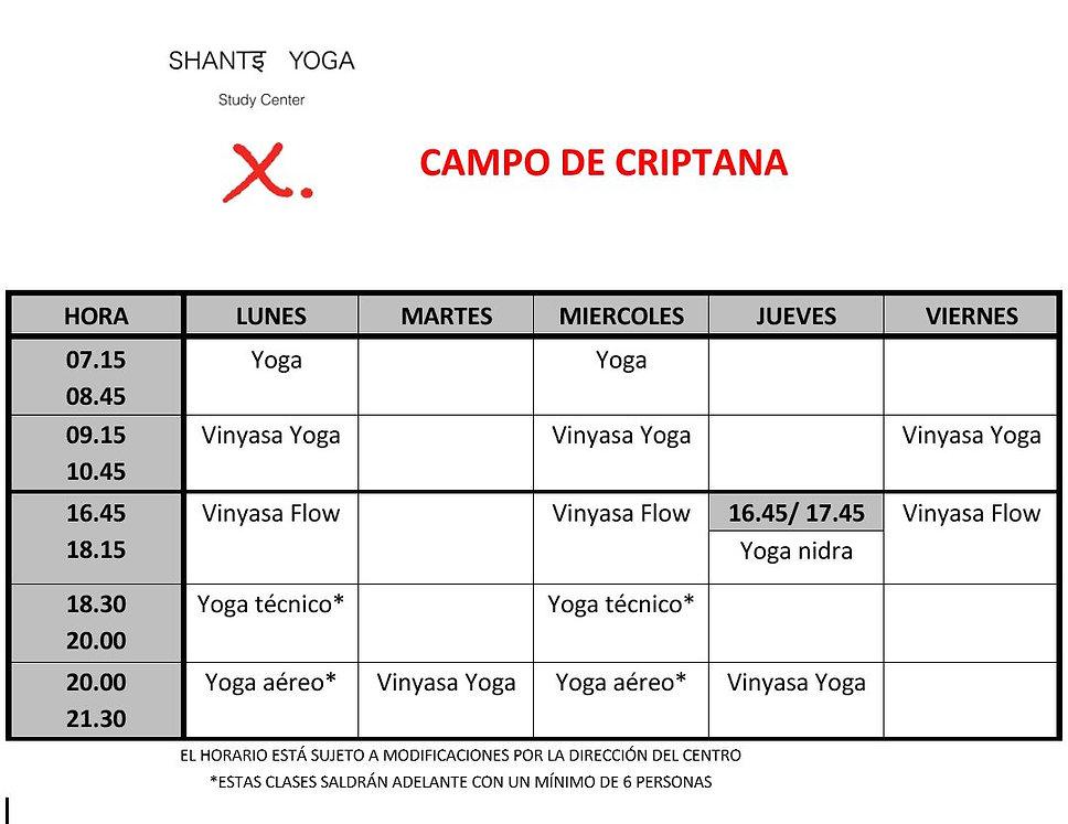 Horaros Clases De Yoga Shanti Study Center Campo de Criptana