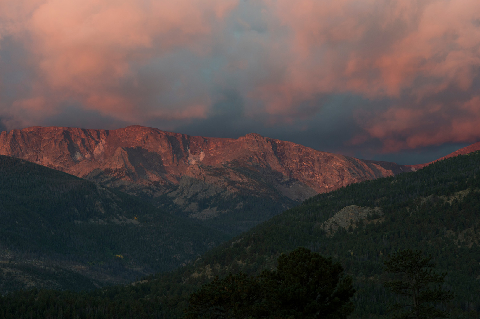 The sun rises over the ridge above Moraine Park in Rocky Mountain National Park Thursday, September 17, 2015.