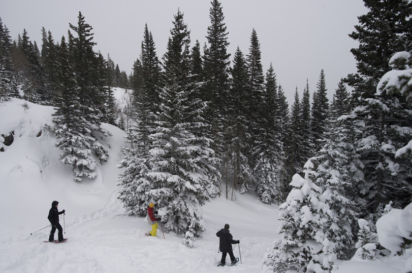 Rocky Mountain National Park visitors snowshoe on the Dream Lake Trail above Bear Lake on Christmas Day, Friday, December 25, 2015.