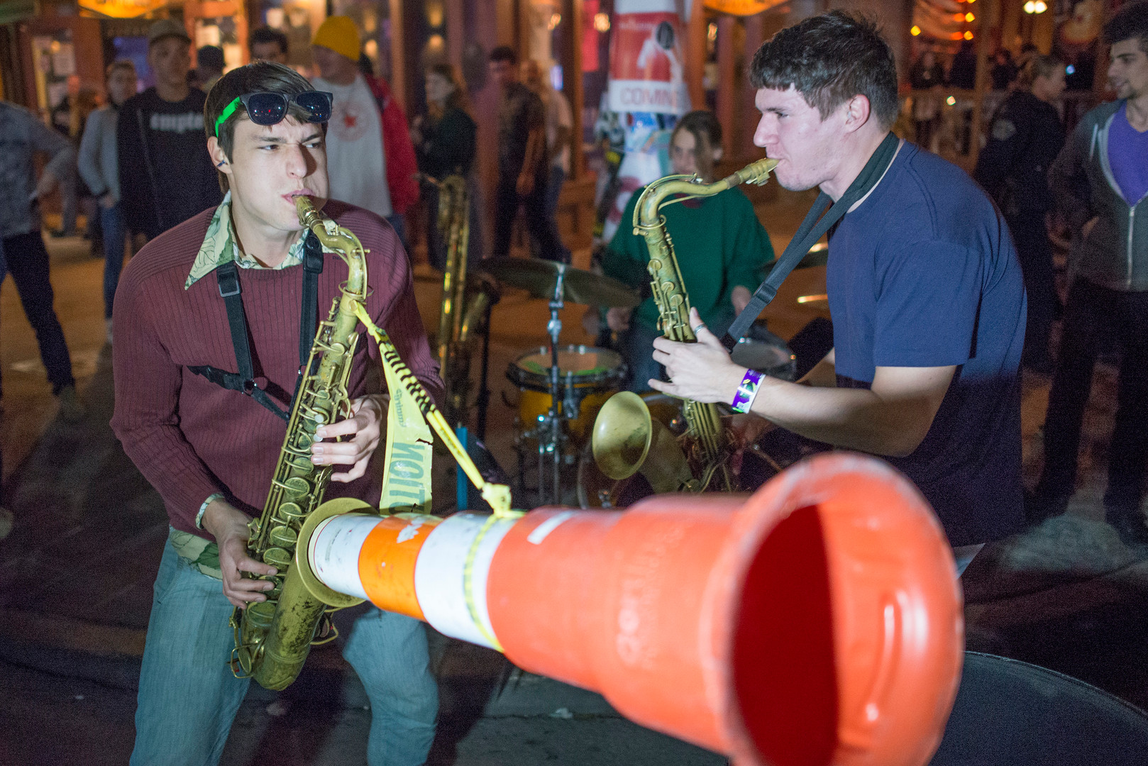 Moon Hooch performs on Sixth Street in Austin during South by Southwest. AUSTIN HUMPHREYS/AUSTIN AMERICAN-STATESMAN