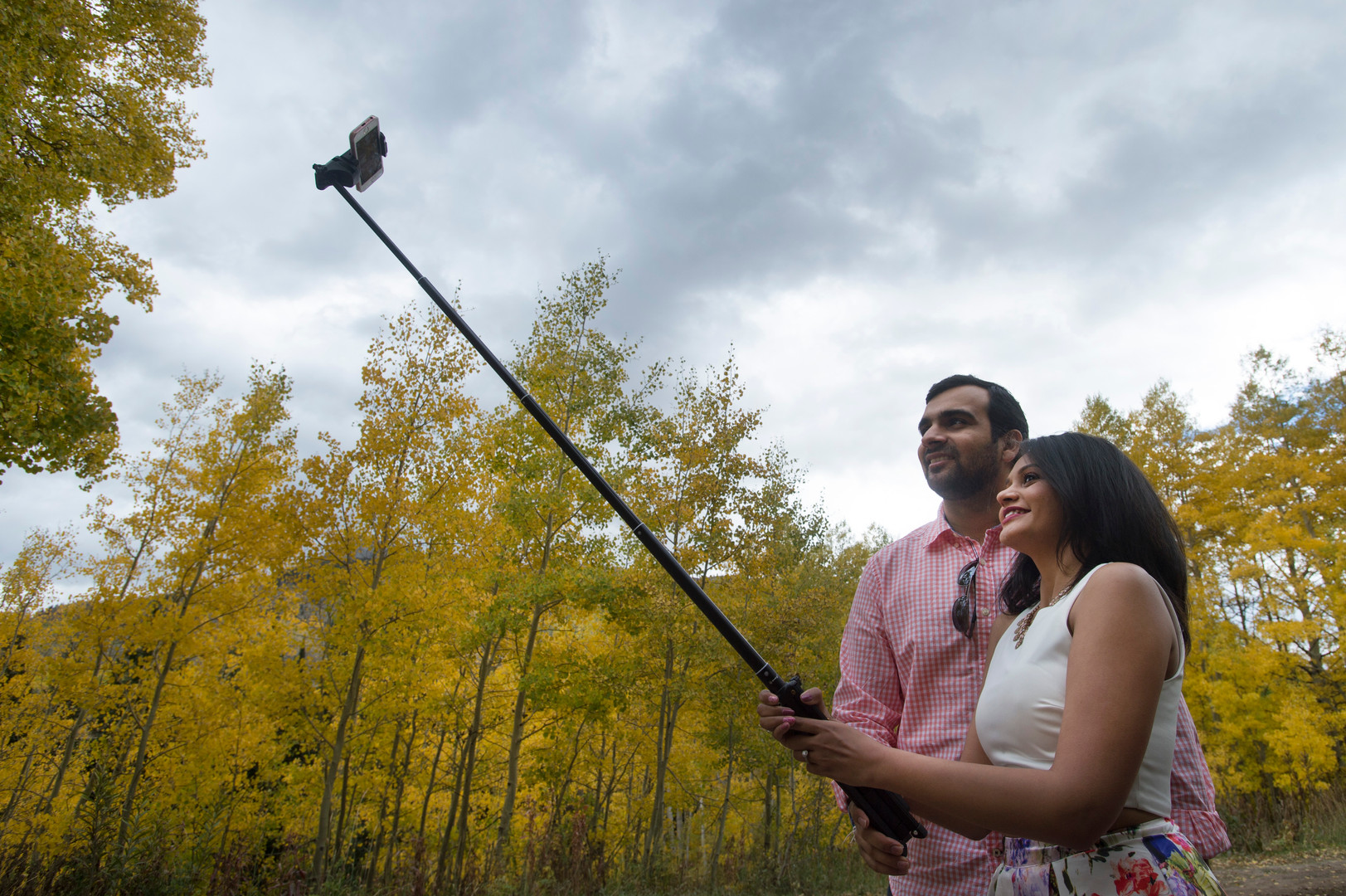 Vastal Thakkar and Nirali Patel, visiting from Chicago, snap a selfie as they enjoy the fall colors near Crested Butte, Colorado on Friday, September 22, 2017.