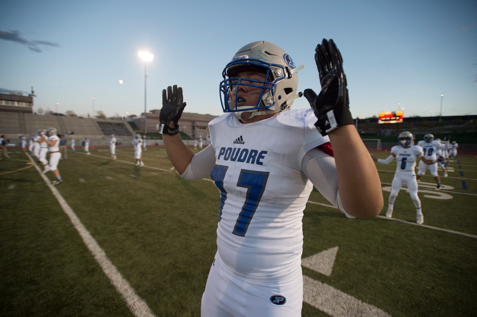 6:20 p.m. - Poudre High School warms up at EchoPark Stadium in Parker before taking on Legend High School Thursday, October 13, 2016.