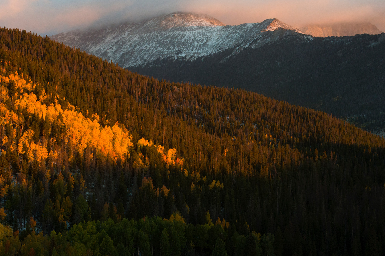 First light hits a snow-covered Mummy Range in Rocky Mountain National Park with fall colors shining bright below tree line Saturday, September 24, 2016.