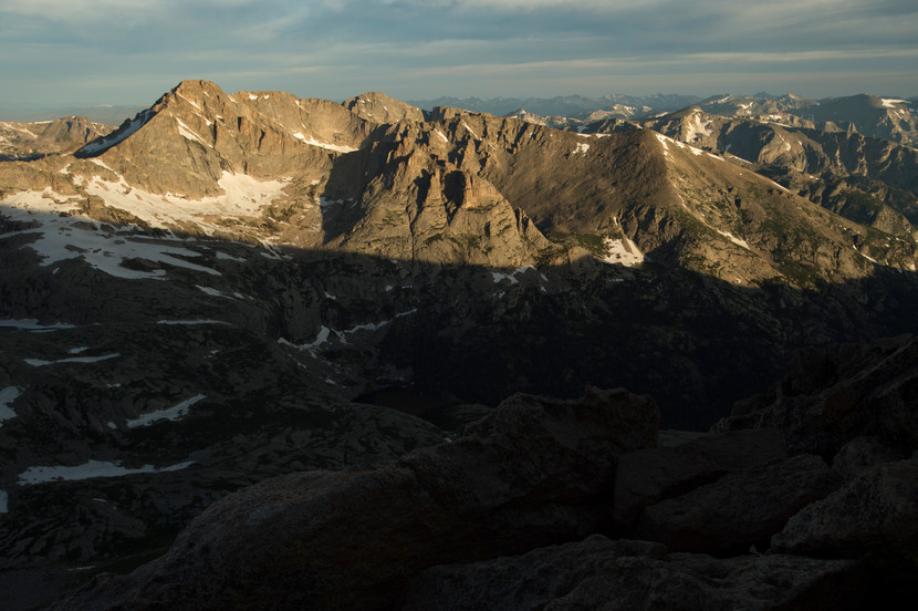 Morning light bathes peaks above Glacier Gorge in Rocky Mountain National Park on Friday, July 19, 2017.