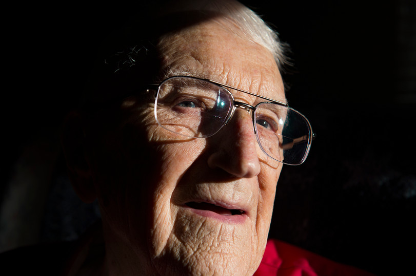 Chuck Kavalec poses for a photo in the living room of his Fort Collins home on Thursday, November 29, 2018. Kavalec turns 100 years old on Dec. 5.