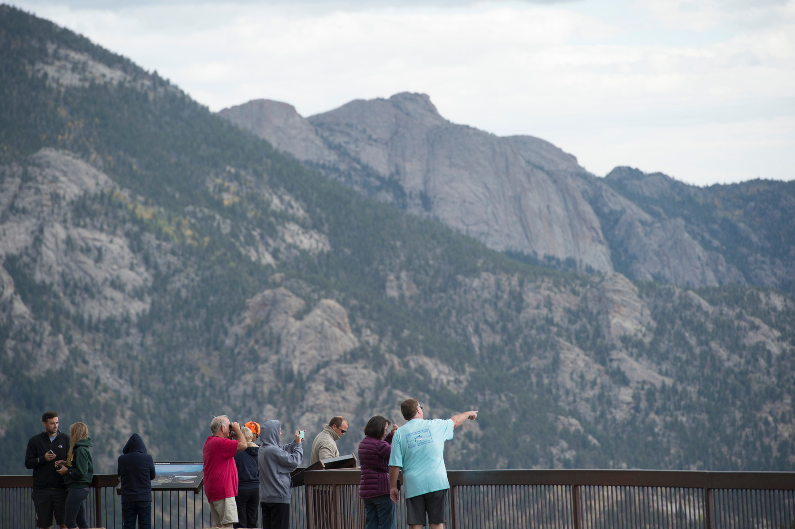 Visitors take in the view from the Many Parks Curve boardwalk in Rocky Mountain National Park Thursday, September 17, 2015.