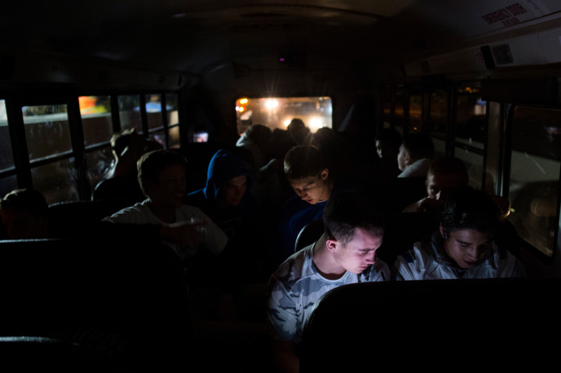 10:32 p.m. - Poudre High School football players take a bus ride home from a game against Legend High School in Parker Thursday, October 13, 2016.