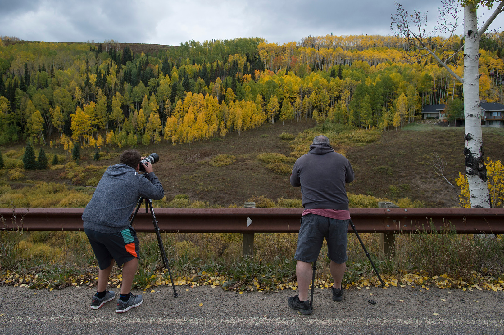Nick Selway, from Hawaii, and Steve Cullen, visiting from Washington, snap photos from the side of the road in Washington Gulch near Crested Butte, Colorado on Friday, September 22, 2017.