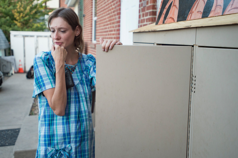 Jessica Little checks in on her locker outside of Fort Collins Mennonite Church on Friday, September 14, 2018. Little, who is 8 months pregnant, requested a locker to have around-the-clock access to her things. AUSTIN HUMPHREYS/THE COLORADOAN
