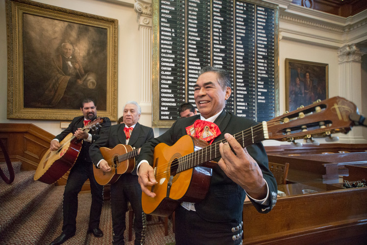 Mariachi Corbetas performs the national anthem during Rep. Celia Israel's swearing-in ceremony at the Texas State Capitol Saturday, March 8, 2014. AUSTIN HUMPHREYS/ AMERICAN-STATESMAN