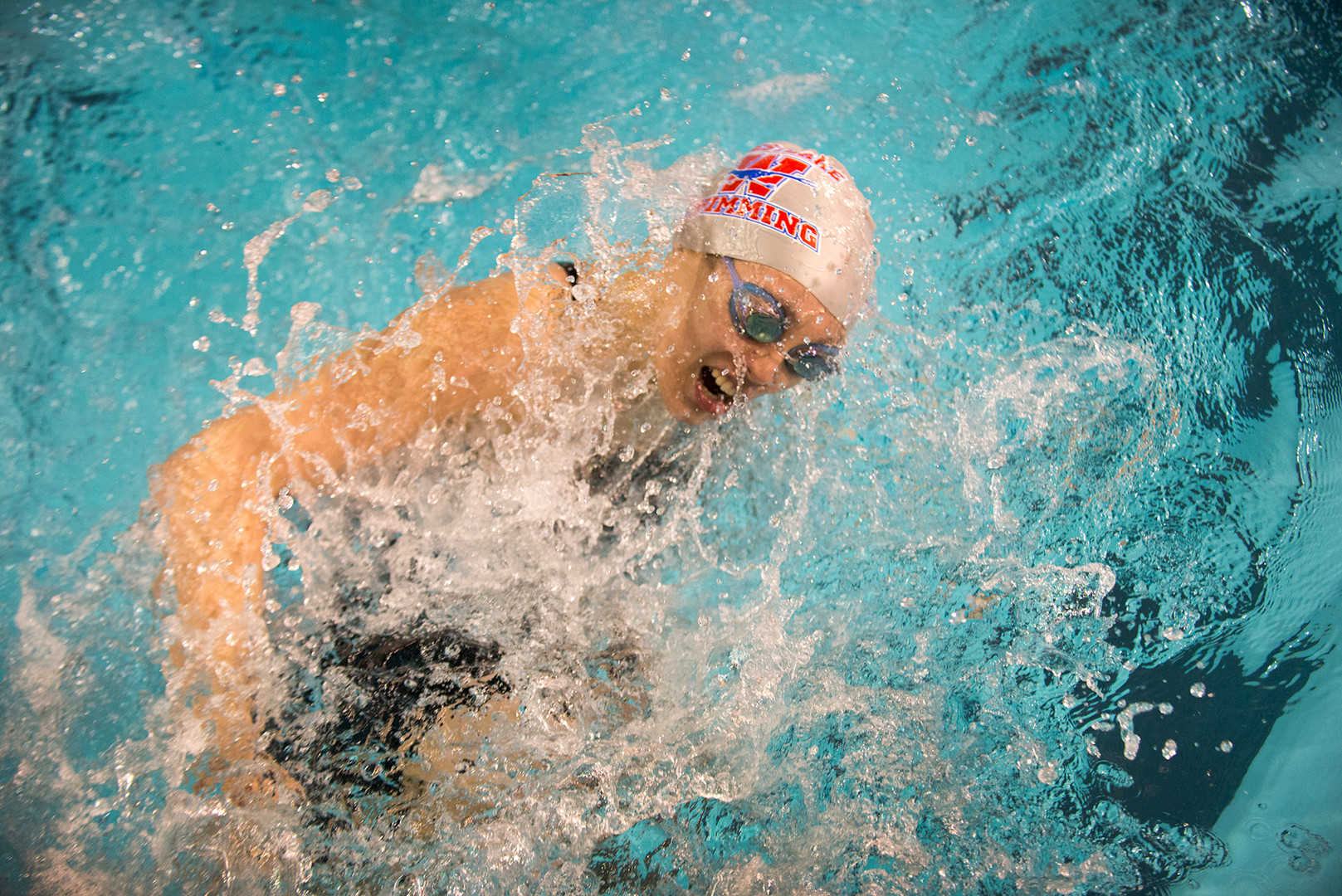 Catriona MacGregor finished a lap during the girls 100 yard breast stroke meet during the UIL Swimming and Diving State Championships at the Lee & Joe Jamail Texas Swimming Center Saturday, February 22, 2014. AUSTIN HUMPHREYS/ AMERICAN-STATESMAN