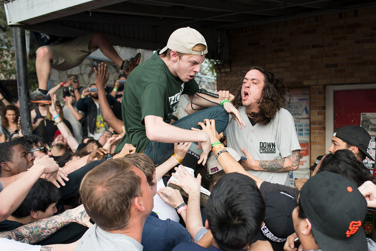 Lee Spielman performs with thrash punk band Trash Talk on the Beerland patio during South by Southwest. The show was cancelled after Austin Police Department was called to the performance after fans began jumping off of the roof into crowd gathered on Red River Street. AUSTIN HUMPHREYS/AUSTIN AMERICAN-STATESMAN