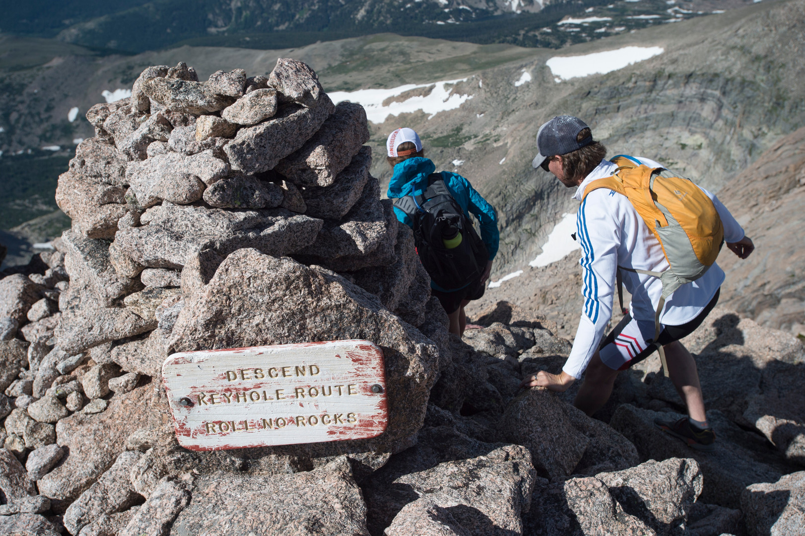 Climbers begin their descent from the summit of Longs Peak in Rocky Mountain National Park on Friday, July 19, 2017.