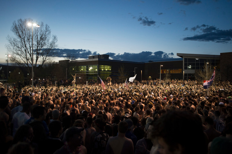 """CSU students gather in front of the student recreation center following the """"undie run"""" on Friday, May 4, 2018. AUSTIN HUMPHREYS/THE COLORADOAN"""