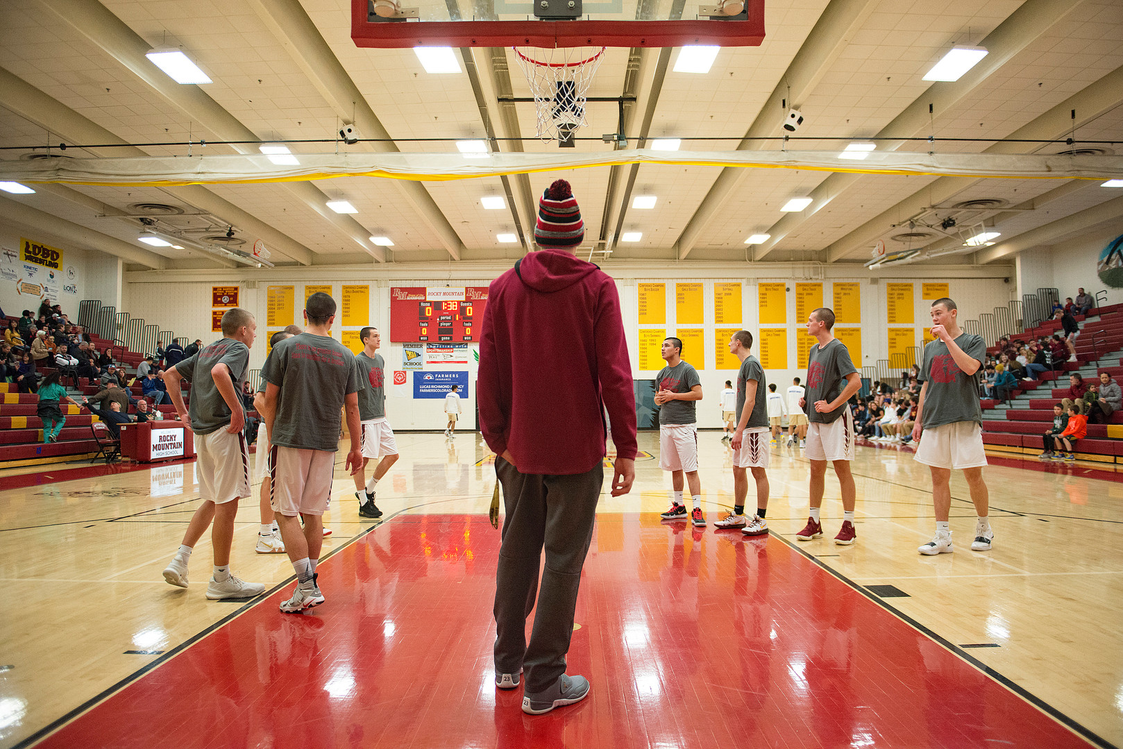 Carter Edgerley watches while the Lobos warm up before taking on Greeley West on Tuesday, January 8, 2019. AUSTIN HUMPHREYS/THE COLORADOAN