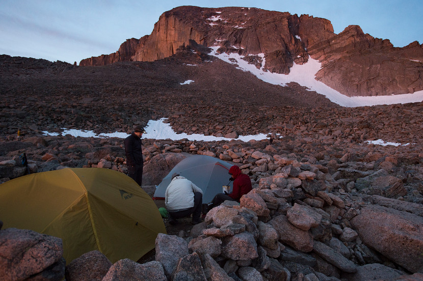 Campers prepare for their climb of Longs Peak in Rocky Mountain National Park from the boulder field backcountry campsite on Friday, July 19, 2017.