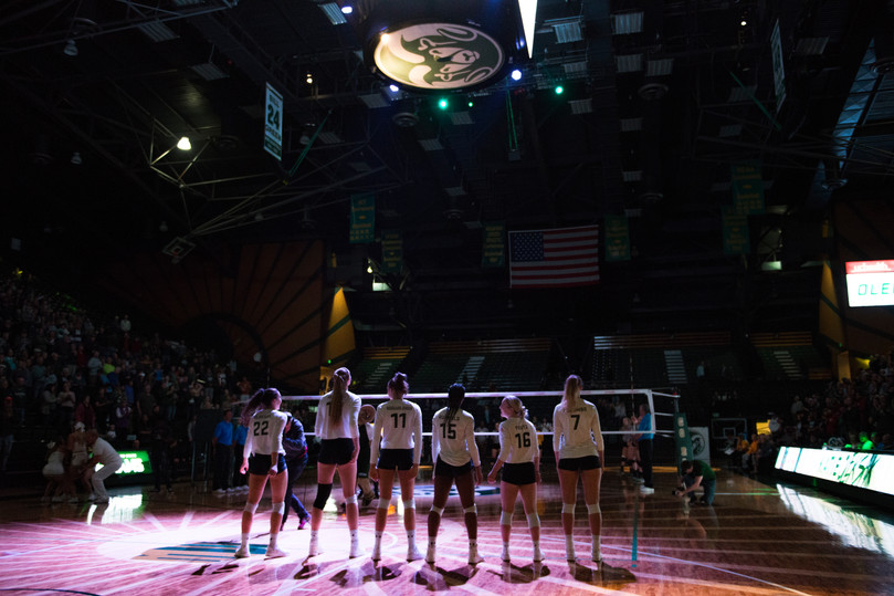 The CSU volleyball team lines up during starter announcements before a game against Wyoming at Moby Arena on October 30, 2018. AUSTIN HUMPHREYS/THE COLORADOAN