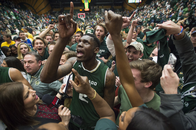 CSU forward Emmanuel Omogbo celebrates 78-76 win over Wyoming at Moby Arena in Fort Collins, Colorado on Tuesday, February 28, 2017. AUSTIN HUMPHREYS/THE COLORADOAN