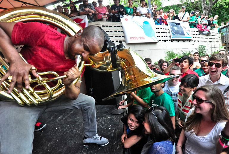 """Damon """"Tuba Gooding Jr."""" Bryson performs with The Roots during the South by Southwest Music Festival in 2012. AUSTIN HUMPHREYS/UNIVERSITY STAR"""