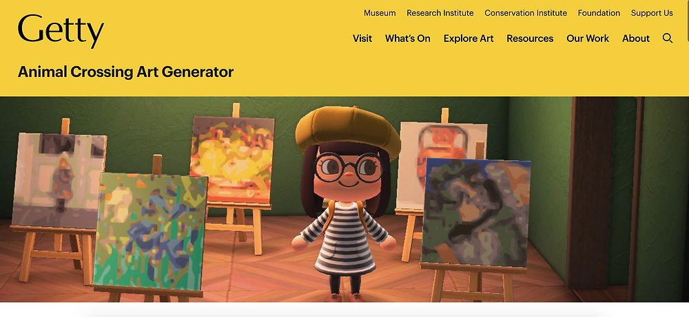 Screenshot of Getty website with Animal Crossing character standing in the middle of 5 digital copies of artwork in-game