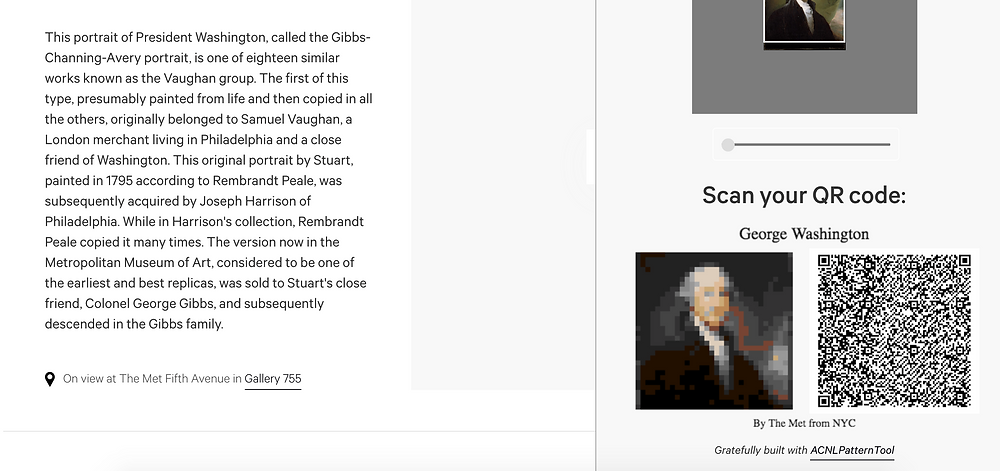 Screenshot image of the Met website, showing a George Washington painting being digitally cropped and converted into a QR code for use in the Animal Crossing game