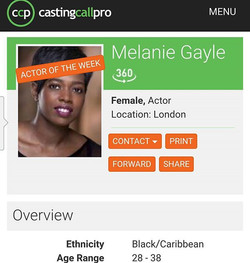 OMG I'm #actor of the week on #ccp thanks _castingcallpro #actress #comedian #host #presenter #actor