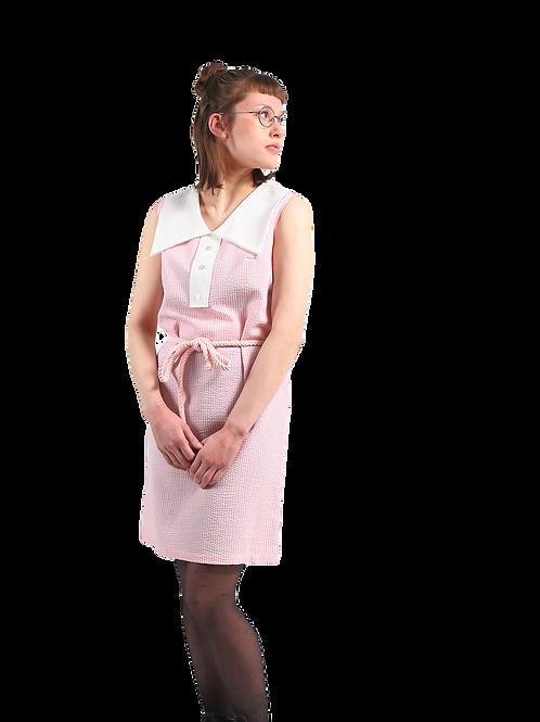 Vintage 60's  Robe été rose ligné blanche