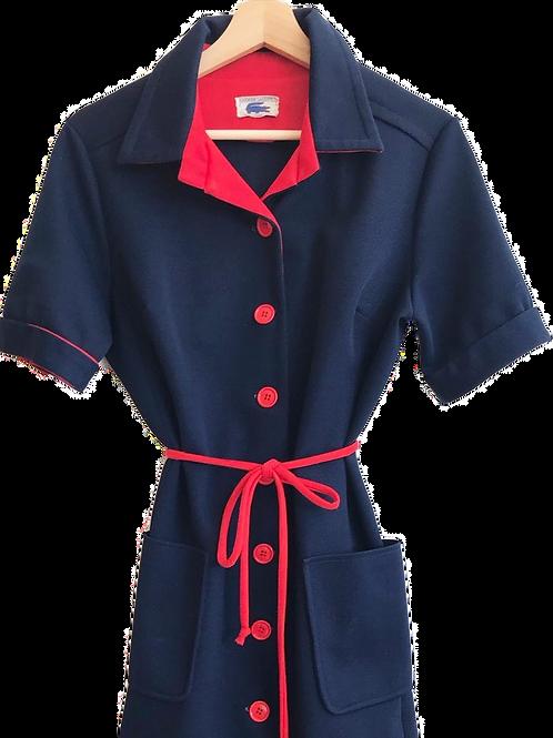 Robe Lacoste 1960 Bleu Marine et Rouge