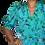 Thumbnail: Robe Sarcelle à fleurs Vintage 80's