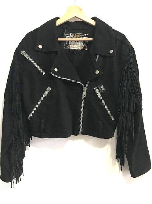 Vintage Veste courte Jeans  Frange // Santana