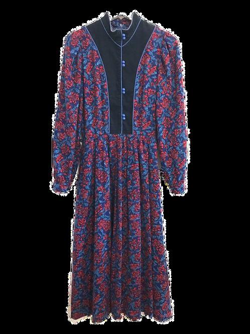 Vintage robe 70's Fleuri rouge et bleu