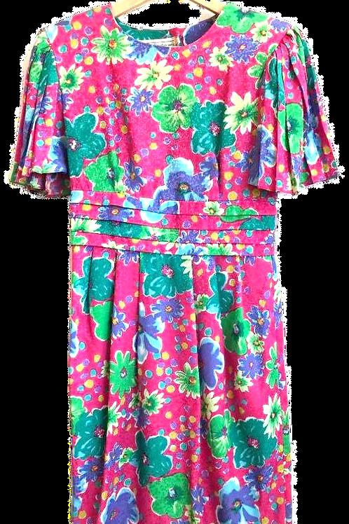 Robe Fushia Motifs Fleurs